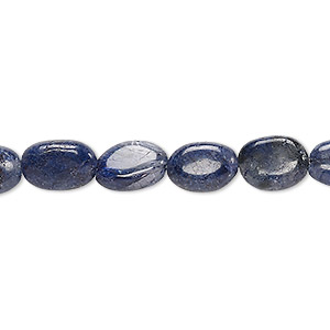 bead, iolite (dyed), 8x7mm-13x8mm hand-cut flat oval, c- grade, mohs hardness 7 to 7-1/2. sold per 13-inch strand.