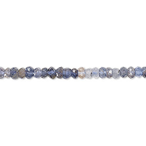 bead, iolite (dyed), shaded, 4x2mm-5x3mm hand-cut faceted rondelle, c+ grade, mohs hardness 7 to 7-1/2. sold per 13-inch strand.