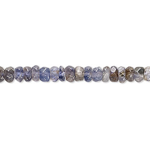 bead, iolite (natural), 4x2mm-5x4mm hand-cut faceted rondelle, d grade, mohs hardness 7 to 7-1/2. sold per 8-inch strand.