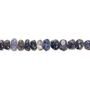 bead, iolite (natural), 5x3mm-6x5mm hand-cut tumbled faceted rondelle, d grade, mohs hardness 7 to 7-1/2. sold per 9-inch strand.