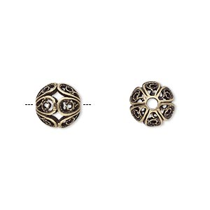bead, jbb findings, antiqued brass, 9mm filigree round. sold individually.