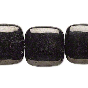 bead, jet (natural), 20x20mm hand-cut puffed square, a- grade, mohs hardness 2-1/2 to 4. sold per 8-inch strand.