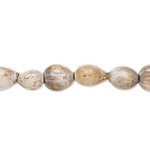 bead, jobs tears (natural), 9-10mm teardrop. sold per 36-inch strand.