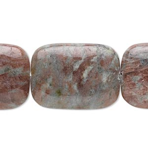 bead, kashgar garnet (natural), 30x22mm rectangle, b grade, mohs hardness 7. sold per 16-inch strand.