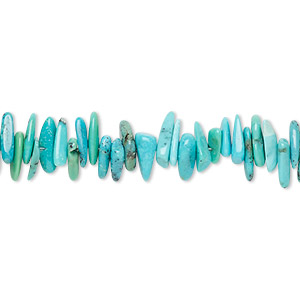 bead, kingman turquoise (stabilized), blue-green, medium chip, mohs hardness 5 to 6. sold per 15-inch strand.