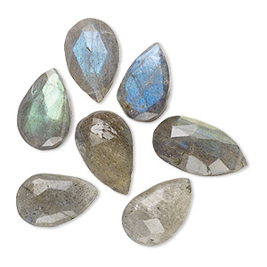 bead, labradorite (natural), 11x8mm-17x12mm top-drilled hand-cut faceted puffed teardrop, b- grade, mohs hardness 6 to 6-1/2. sold per pkg of 6.