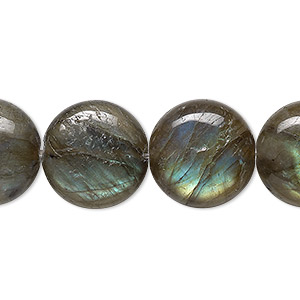 bead, labradorite (natural), 16mm flat round, b grade, mohs hardness 6 to 6-1/2. sold per 8-inch strand.