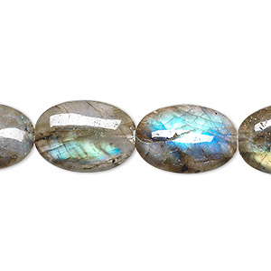 bead, labradorite (natural), 18x13mm flat oval, b+ grade, mohs hardness 6 to 6-1/2. sold per 8-inch strand, approximately 10 beads.