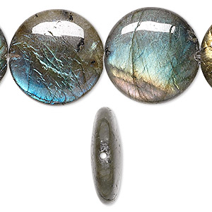 bead, labradorite (natural), 20mm flat round, a- grade, mohs hardness 6 to 6-1/2. sold per 8-inch strand.