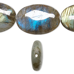 bead, labradorite (natural), 30x22mm flat oval, b+ grade, mohs hardness 6 to 6-1/2. sold per 8-inch strand.