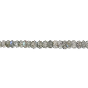 bead, labradorite (natural), 3x2mm-4x3mm hand-cut faceted rondelle, b grade, mohs hardness 6 to 6-1/2. sold per 16-inch strand.