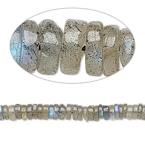 bead, labradorite (natural), 4x1mm-6x2mm hand-cut rondelle, b grade, mohs hardness 6 to 6-1/2. sold per 8-inch strand, approximately 100-150 beads.