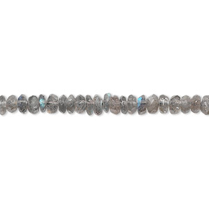 bead, labradorite (natural), 4x2mm hand-cut faceted rondelle, c grade, mohs hardness 6 to 6-1/2. sold per 16-inch strand.