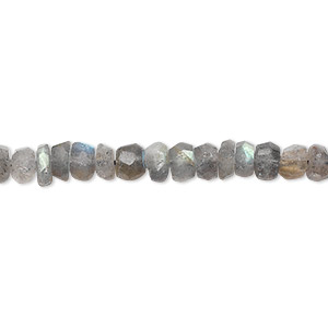 bead, labradorite (natural), 5x3mm hand-cut faceted rondelle, c grade, mohs hardness 6 to 6-1/2. sold per 16-inch strand.