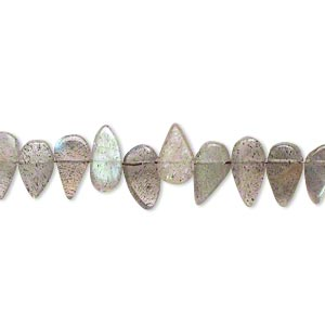bead, labradorite (natural), 5x4mm-10x5mm hand-cut top-drilled flat teardrop, c grade, mohs hardness 6 to 6-1/2. sold per 14-inch strand.