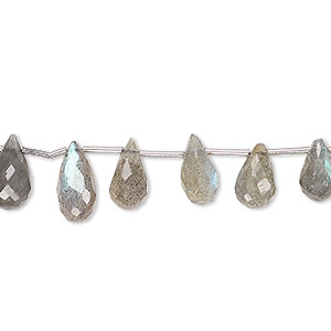 bead, labradorite (natural), 6x4mm-10x7mm graduated hand-cut top-drilled faceted briolette, c grade, mohs hardness 6 to 6-1/2. sold per 4-inch strand, approximately 15 beads.