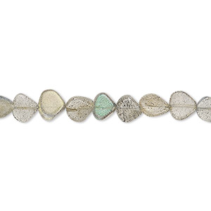 bead, labradorite (natural), 6x5mm-7mm hand-cut flat teardrop, b- grade, mohs hardness 6 to 6-1/2. sold per 13-inch strand.