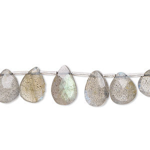 bead, labradorite (natural), 7x5mm-11x7mm graduated hand-cut top-drilled faceted puffed teardrop, b- grade, mohs hardness 6 to 6-1/2. sold per 4-inch strand, approximately 10 beads.