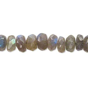 bead, labradorite (natural), 8x3mm-9x6mm hand-cut faceted rondelle, c+ grade, mohs hardness 6 to 6-1/2. sold per 14-inch strand.
