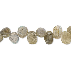 bead, labradorite (natural), 8x5mm-9x7mm hand-cut top-drilled flat oval, c grade, mohs hardness 6 to 6-1/2. sold per 13-inch strand.