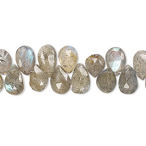 bead, labradorite (natural), 8x6mm-13x7mm hand-cut top-drilled faceted puffed teardrop, c grade, mohs hardness 6 to 6-1/2. sold per 3-inch strand.