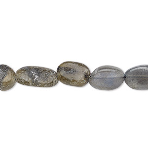 bead, labradorite (natural), 8x6mm-16x8mm hand-cut flat oval, f grade, mohs hardness 6 to 6-1/2. sold per 12-inch strand.
