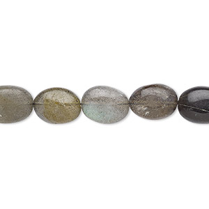 bead, labradorite (natural), 9x7mm-12x9mm hand-cut puffed oval, d grade, mohs hardness 6 to 6-1/2. sold per 7-inch strand.