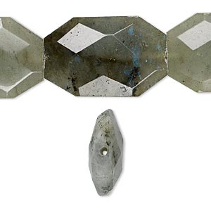 bead, labradorite (natural), large faceted puffed nugget, mohs hardness 6 to 6-1/2. sold per 16-inch strand.