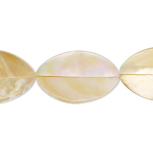 bead, laminated gold lip shell (assembled), 24x14mm-26x16mm double-sided oval, mohs hardness 3-1/2. sold per pkg of 5.
