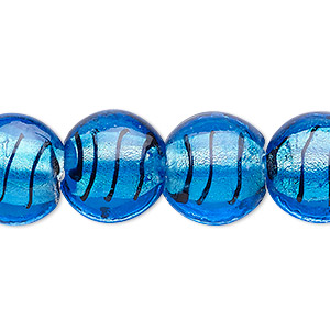 bead, lampworked glass, aqua blue and black with silver-colored foil, 15mm puffed flat round with swirls. sold per 16-inch strand.