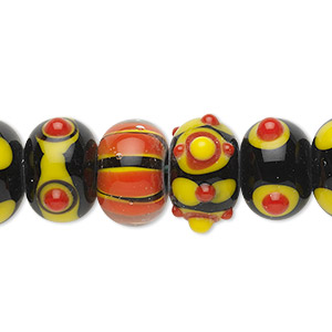 bead, lampworked glass, assorted black / orange / yellow, 14x10mm rondelle. sold per pkg of 20.