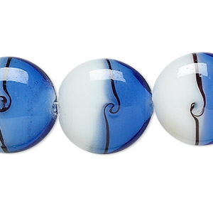 bead, lampworked glass, blue / black / white, 20mm puffed flat round with lines. sold per 16-inch strand.