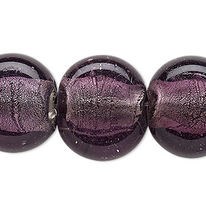 bead, lampworked glass, dark grape with silver-colored foil, 24x20mm-25x21mm uneven puffed flat round. sold per 16-inch strand.