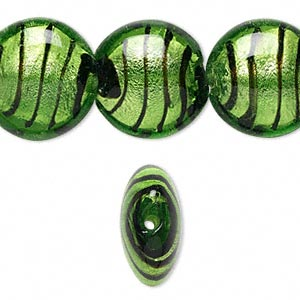 bead, lampworked glass, green / black / brown with silver-colored foil, 20mm puffed flat round with lines. sold per 16-inch strand.