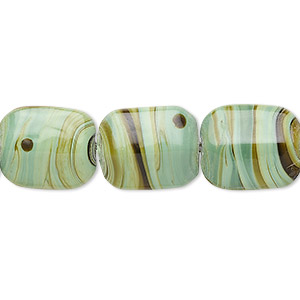 bead, lampworked glass, green/brown, 14x11mm-17x13mm domed rectangle. sold per 16-inch strand.