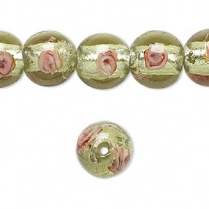 bead, lampworked glass, light green and pink with silver-colored foil, 12mm round. sold per 16-inch strand.