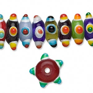 bead, lampworked glass, multicolored, 12x6mm bumpy star. sold per 16-inch strand.
