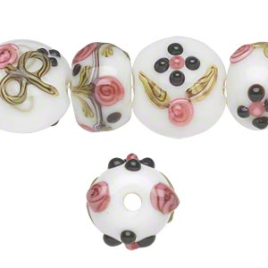 bead, lampworked glass, multicolored, 13mm-15x10mm bumpy rondelle with flower design and 13-15mm puffed flat round with flower design and 2.5mm hole. sold per pkg of 16.