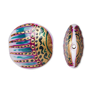 bead, lampworked glass, multicolored, 22mm double-sided puffed flat round with hand-painted abstract design. sold per pkg of 2.