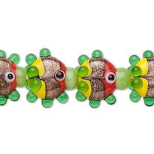 bead, lampworked glass, multicolored with copper-colored foil, 17x16mm-20x19mm fancy fish. sold per pkg of 10.