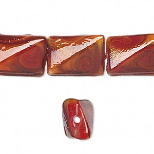 bead, lampworked glass, multicolored with copper-colored glitter, 17x12mm twisted rectangle. sold per 16-inch strand.