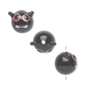 bead, lampworked glass, opaque black, 13x12mm monster face. sold per pkg of 4.