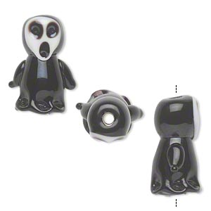 bead, lampworked glass, opaque black and white, 20x16mm single-sided ghost. sold per pkg of 4.