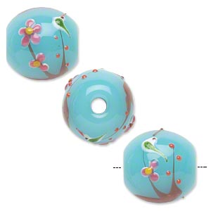 bead, lampworked glass, opaque light blue/pink/yellow, 20mm round with birds and raised flowers. sold individually.
