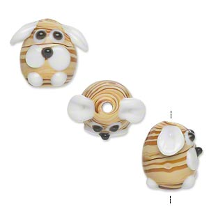 bead, lampworked glass, opaque light brown and dark brown, 18x14mm dog with swirled glass and long ears. sold per pkg of 2.
