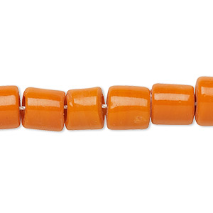 bead, lampworked glass, opaque orange, 8-10mm round tube with 3-4mm hole. sold per 16-inch strand.