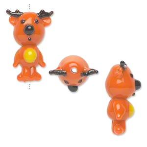 bead, lampworked glass, opaque orange/black/yellow, 27x18mm reindeer. sold per pkg of 2.