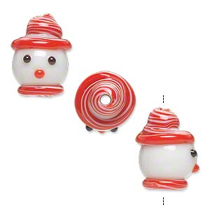 bead, lampworked glass, opaque white and red, 18x12mm snowman head with hat and scarf. sold per pkg of 2.