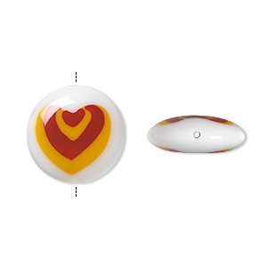 bead, lampworked glass, opaque white/red/yellow, 16mm double-sided flat round with nested hearts design. sold per pkg of 2.