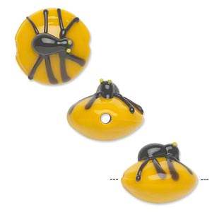 bead, lampworked glass, opaque yellow and black, 16x13mm single-sided puffed flat round with black spider. sold per pkg of 2.